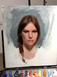 Casey Baugh portrait in progress