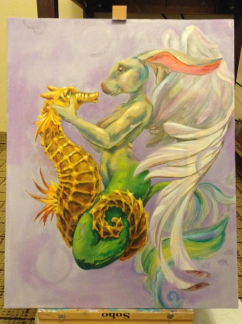 Siren and seahorse painting in progress