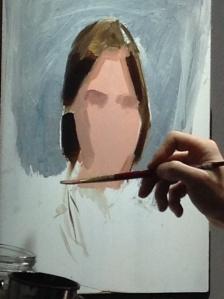 Casey Baugh portrait in proess