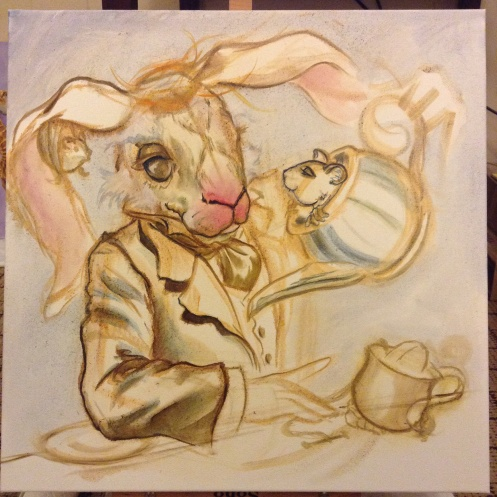 March hare painting in progress