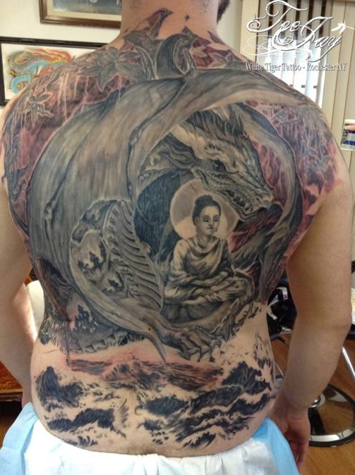 Buddha Naga Bahamut backpiece tattoo