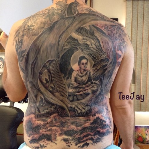 Buddha Naga Muchalinda tattoo back piece