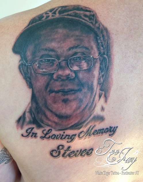 Steveo memorial portrait tattoo