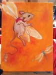 flying mouse painting in progress