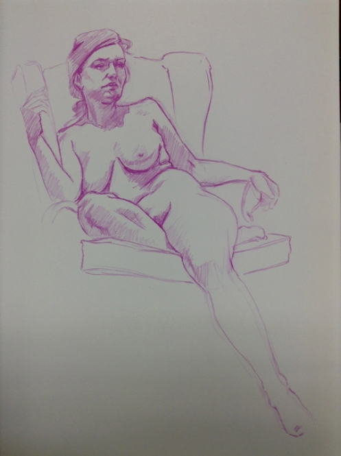 female in chair figure drawing