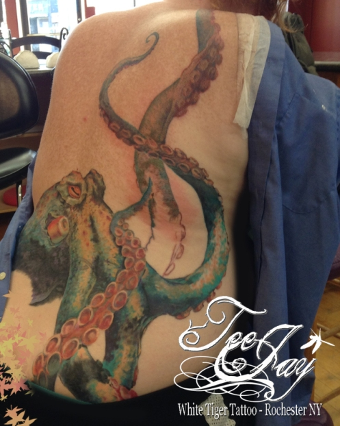 octopus tattoo in progress