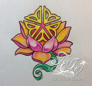 Rochester Flower Lotus Tattoo design