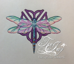 Rochester Flower dragonfly tattoo flash