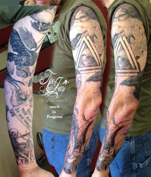 norse sleeve tattoo in progress