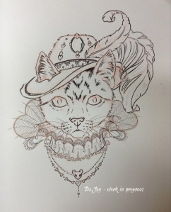 fancy cat drawing