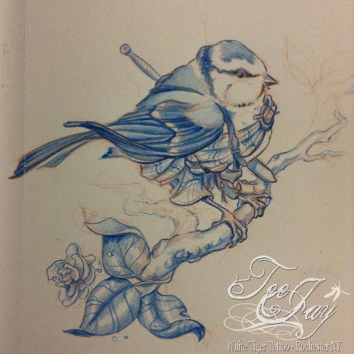 blue tit in a great kilt drawing