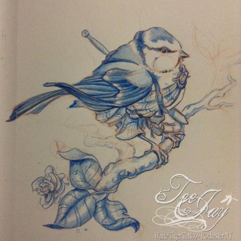 blue tit in a great kilt drawing