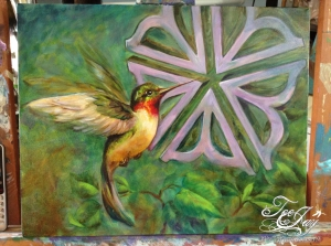 humminbird with rochester flower