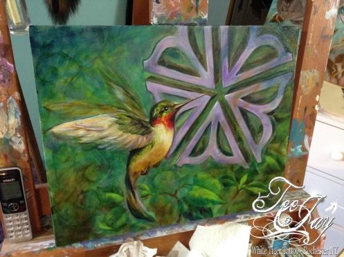 hummingbird with Rochester Flower