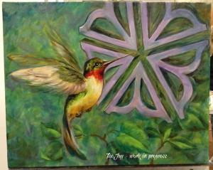 Rochester Flower with Hummingbird