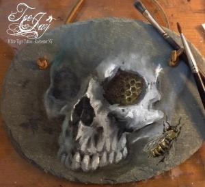 Garden Skull painting on slate