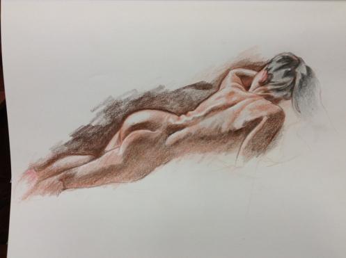 figure drawing woman back reclining