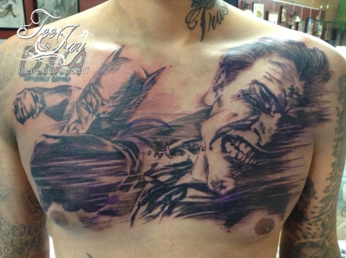 Batman and Joker chest tattoo