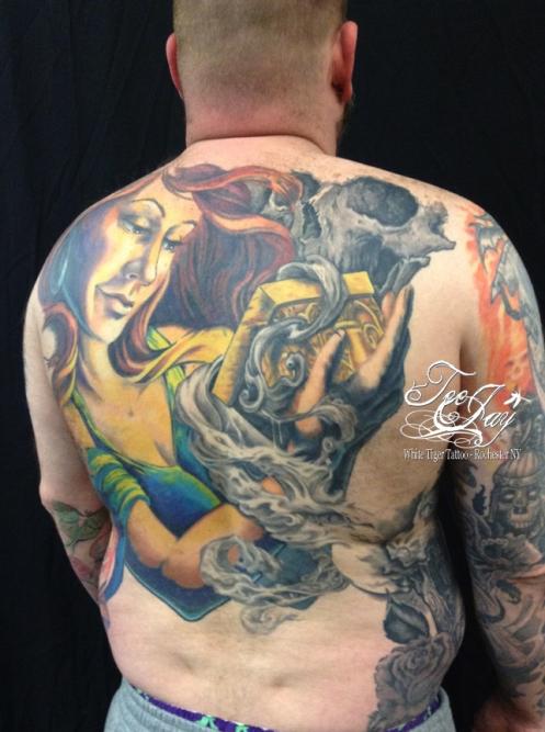 Pandora back piece tattoo (looking into box)