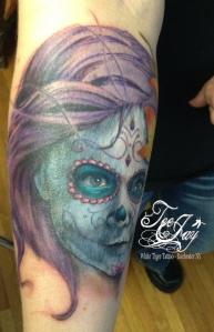sugar skull portrait of daughter tattoo