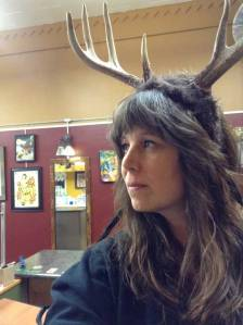 TeeJay with antlers