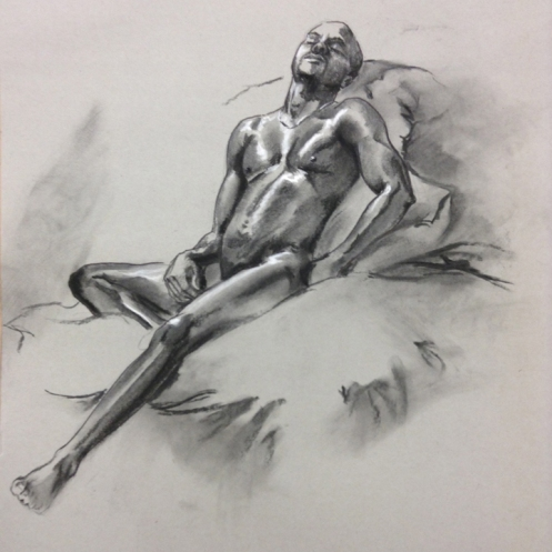 figure drawing male recllining