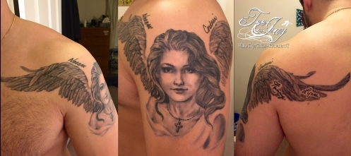 Healed angel tattoo with family names