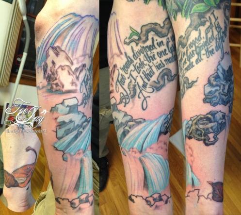 waterfall tattoo in progress