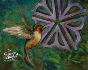 Rochester Flower Hummingbird painting by TeeJay