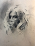 female charcoal drawing