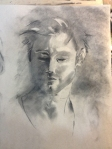 male charcoal drawing