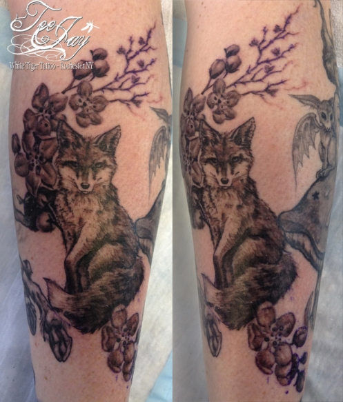 fox and blossoms tattoo