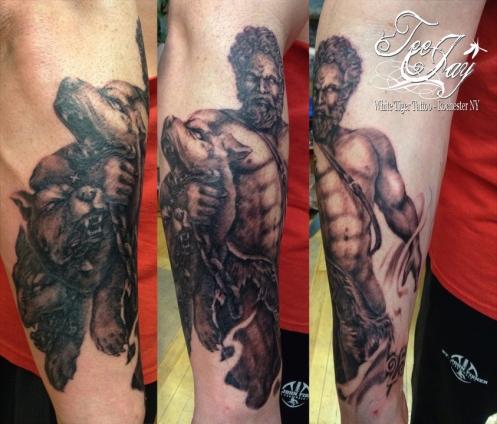 Hercules and Cerebus tattoo
