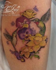 hummingbirds flowers tattoo