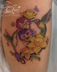hummingbirds flowers tattoo