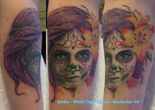 sugar skull portrait tattoo in color
