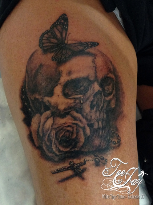 skull rose butterfly rosary tattoo