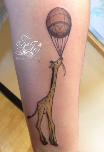 cute giraffe and balloon tattoo