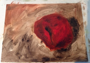 cherry painting in progress