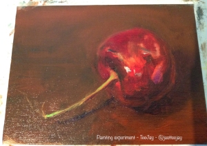 cherry painting in progress