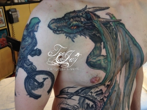 dragon and muni knight tattoo