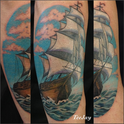 tall ship tattoo - Homeward Bound