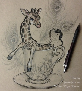 teacup giraffe drawing