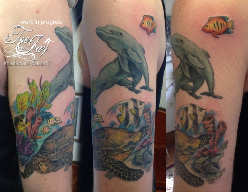 Underwater reef tattoo