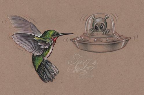Very Small Alien encounters Hummingbird