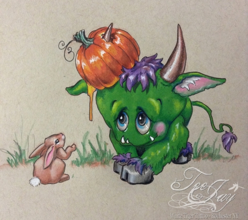 gore monster drawing with pumpkin and bunny