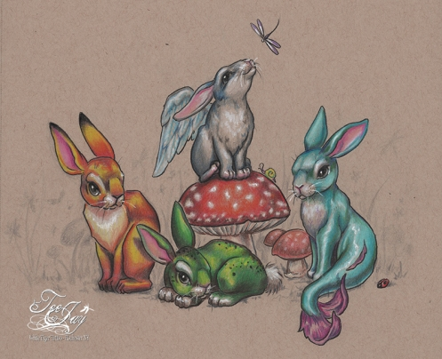elemental fluffle, bunnies, earth air fire and water