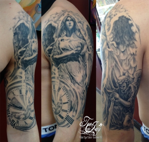 black and grey angel clock half sleeve healed