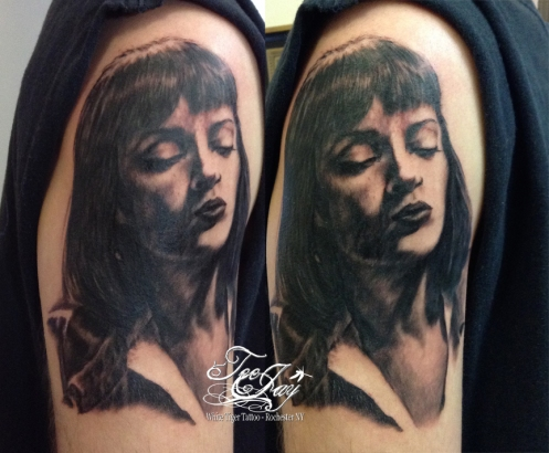 tattoo of Mia Wallace from Pulp Fiction