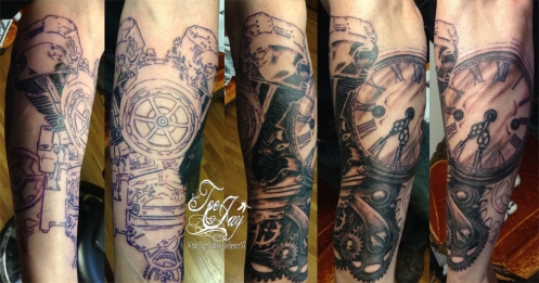knuckle motor steampunk tattoo in progress